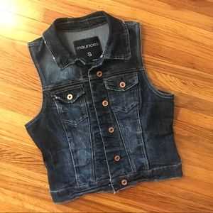 Maurices dark wash denim vest with brass buttons